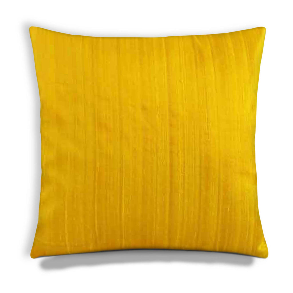 Yellow raw silk cushion cover handmade by DesiCrafts