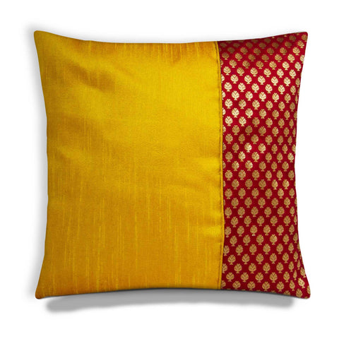 Yellow Red and Gold raw silk cushion cover buy online from India