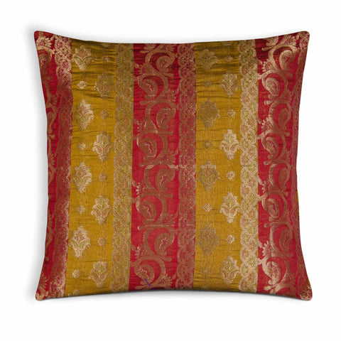 Striped Chanderi Silk Pillow Cover in Red and Mustard