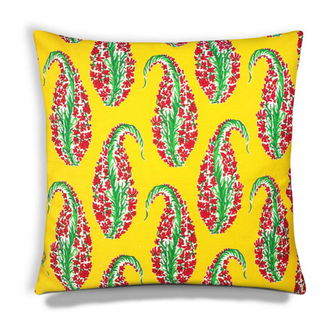Yellow Red Paisley Cotton Cushion Cover By Online from DesiCrafts