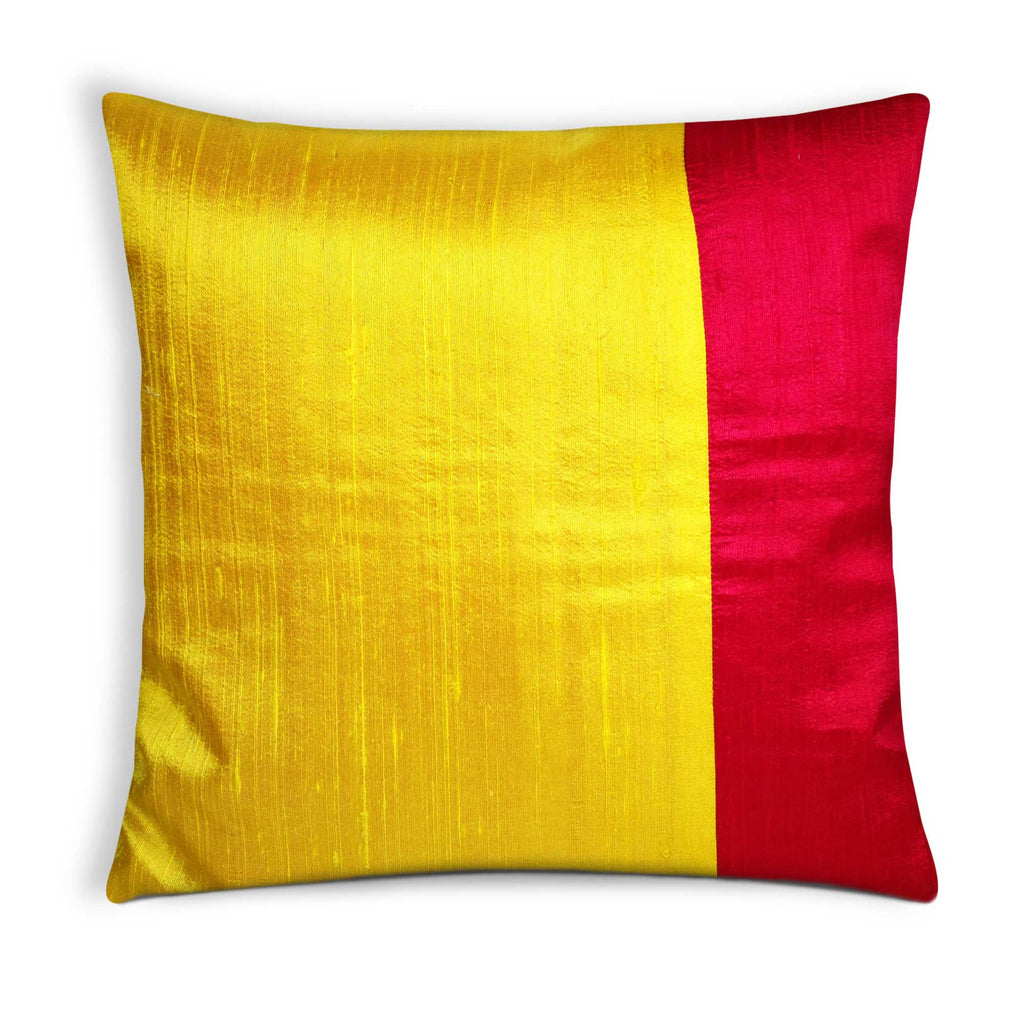 Yellow and red raw silk pillow cover buy online from DesiCrafts