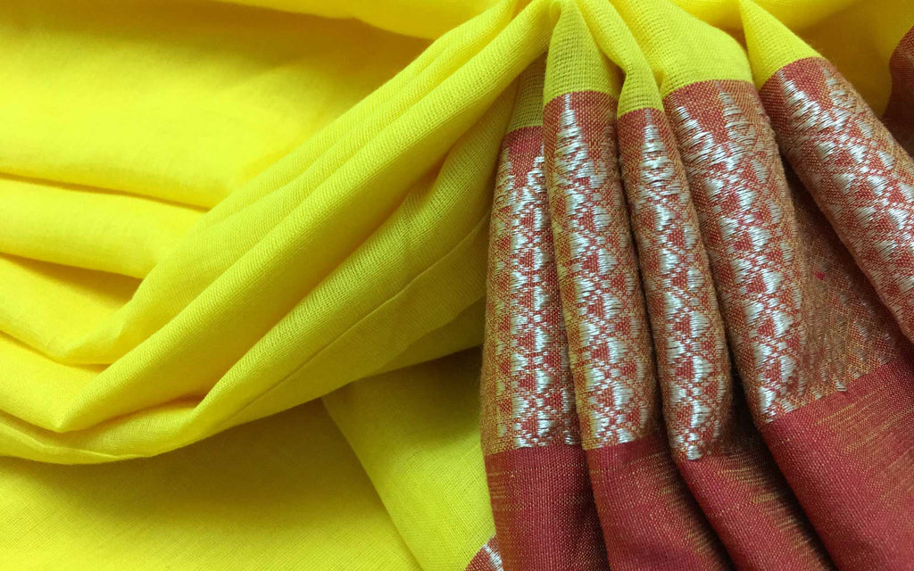 Handwoven linen cotton sari by DesiCrafts