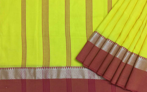 Yellow and Rust linen cotton sari by DesiCrafts