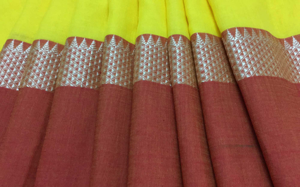 Rust and Yellow Handloom Linen Cotton Sari