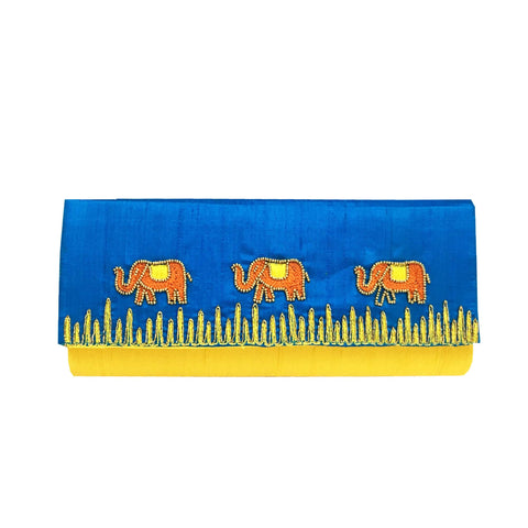 Aari Embroidery Blue Silk Clutch Purse