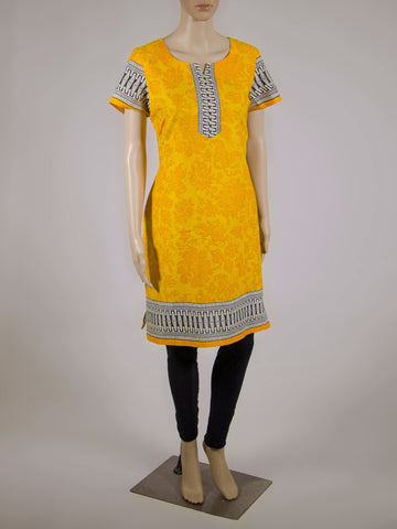Yellow and Black Jaipur Block Print Cotton Kurta