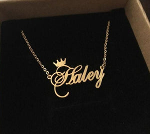 Personalized Gold Plated Name Necklace with Crown