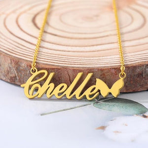 Personalized Gold Name Necklace with Butterfly