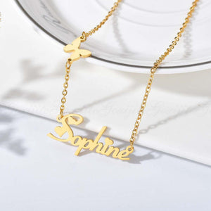 Personalized Gold Plated Name Necklace with Butterfly & Heart