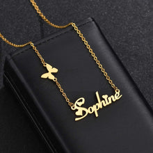 Load image into Gallery viewer, Personalized Gold Plated Name Necklace with Butterfly & Heart