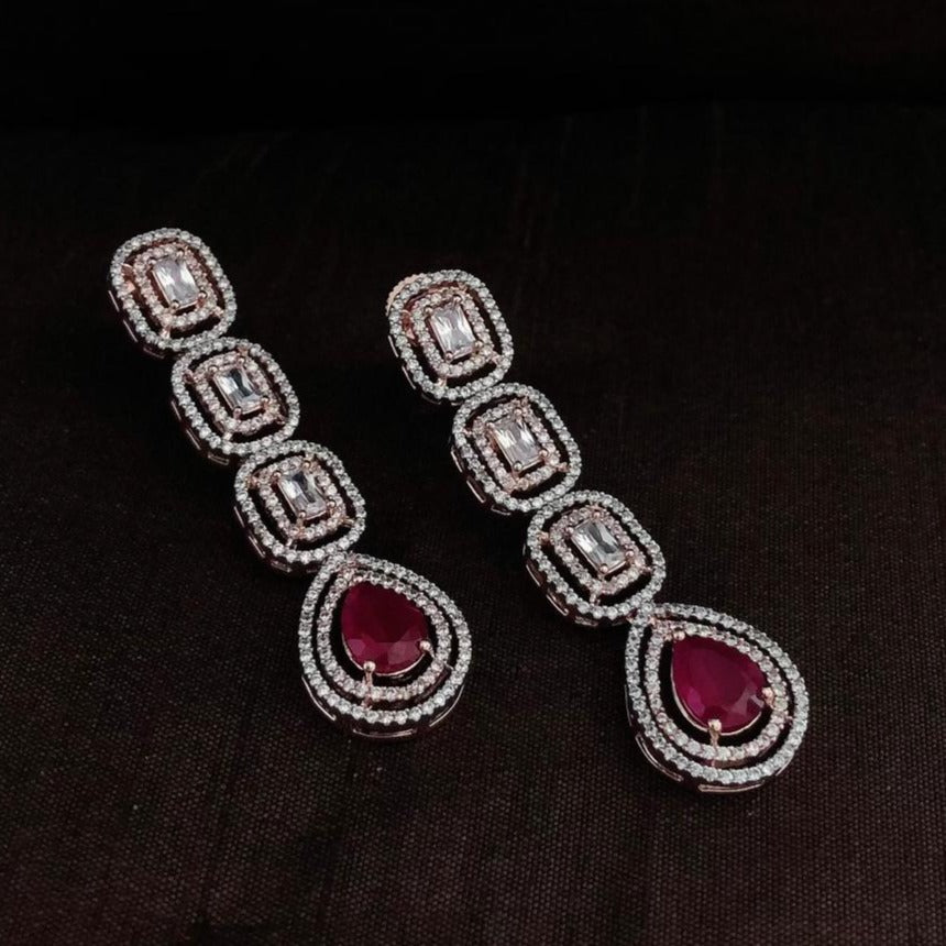 White Diamonds With Ruby Long Earrings