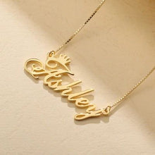 Load image into Gallery viewer, Personalized Gold Plated Name Necklace with Crown