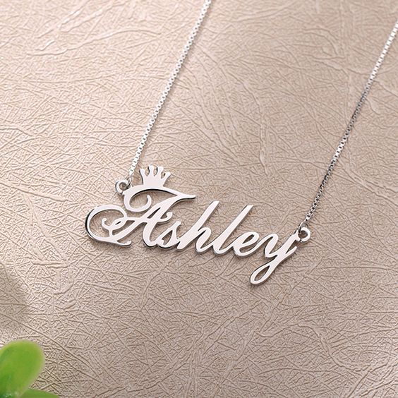 Personalized Silver Plated Name Necklace with Crown