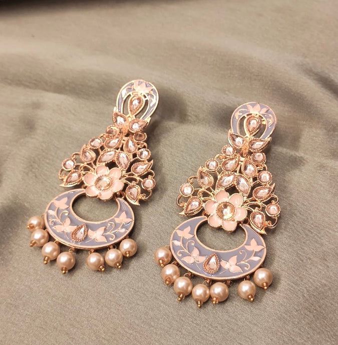 Ikasiya Kundan Gold Flower Long Pearl Earrings