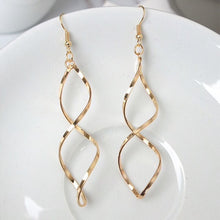 Load image into Gallery viewer, Ikasiya Twisted Gold Hoops