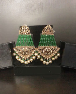 Ikasiya Kundan Gold & Green Long Earrings
