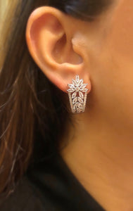 Ikasiya Diamond Flower Stud Earrings in White Finish