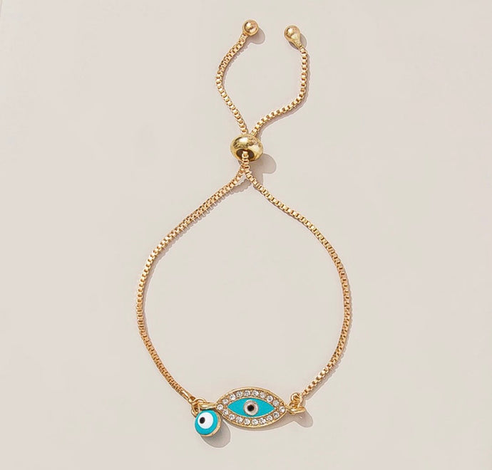 Ikasiya Blue & Gold Evil Eye Bracelet