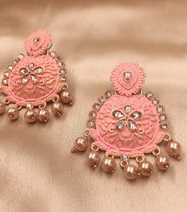 Ikasiya Chandbali Earrings in Gold and Pink