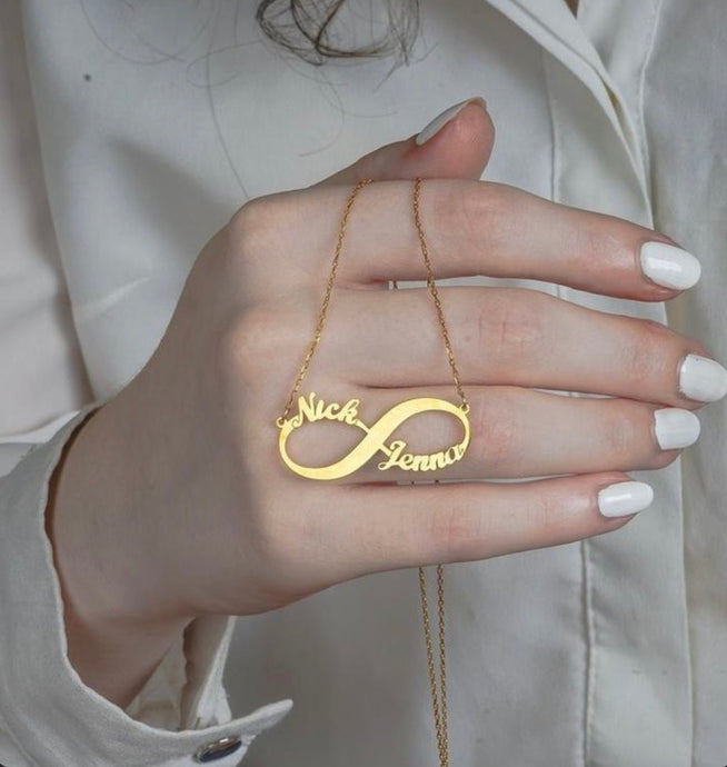 Personalized Gold Plated Infinity Name Necklace (Features two names)