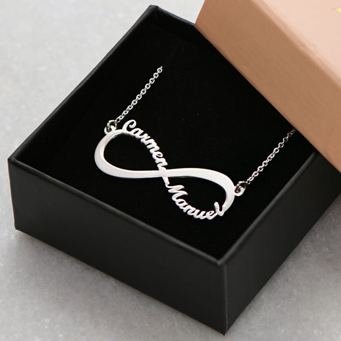 Personalized Silver Plated Infinity Name Necklace (Features two names)