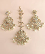 Load image into Gallery viewer, Ikasiya Kundan Chandelier Earrings in Gold and Pearl along with Maangtikka
