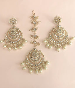 Ikasiya Kundan Chandelier Earrings in Gold and Pearl along with Maangtikka