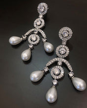 Load image into Gallery viewer, Ikasiya Diamond Chandelier  Earrings in White Finish