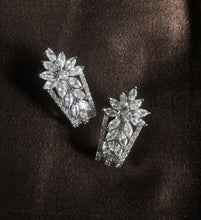 Load image into Gallery viewer, Ikasiya Diamond Flower Stud Earrings in White Finish