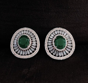 Emerald Green Diamond Stud Earrings
