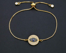 Load image into Gallery viewer, Ikasiya Diamond Gold Round Evil Eye Bracelet