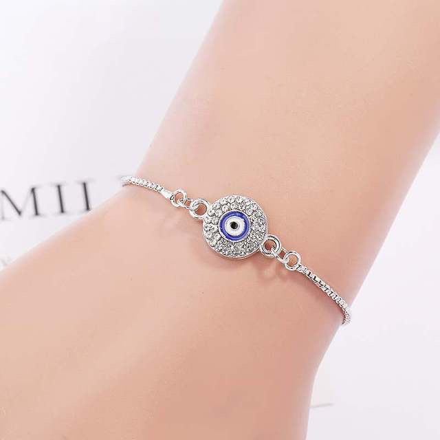 Ikasiya Round Silver Adjustable Evil Eye Bracelet