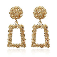 Load image into Gallery viewer, Ikasiya Gold Textured Drop Earrings