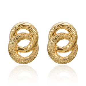 Ikasiya Double Gold Textured Earrings