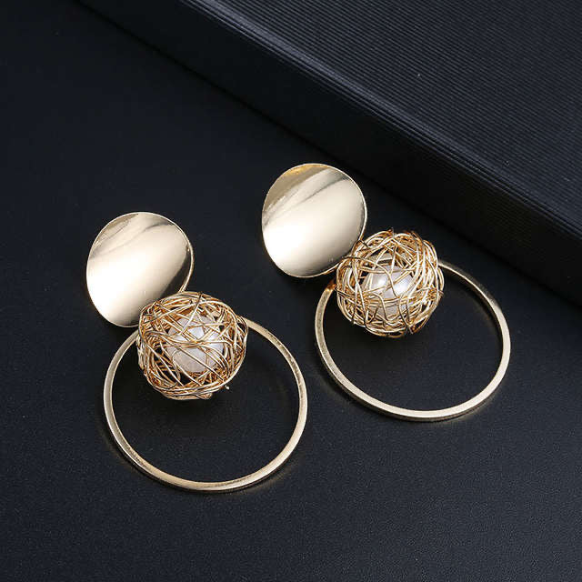 Ikasiya Gold Pearl Intricate Hoop Earrings