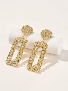 Ikasiya Gold Textured Encrusted Earrings
