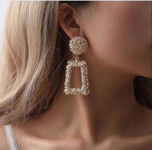 Ikasiya Gold Textured Drop Earrings