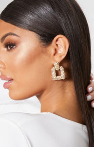 Ikasiya Square Textured Gold Earrings