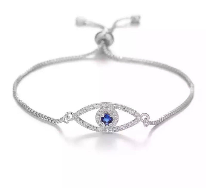 Ikasiya Silver Evil Eye Bracelet with Midnight Blue Stone