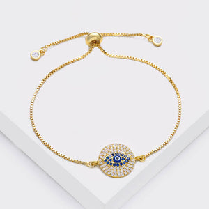 Ikasiya Diamond Gold Round Evil Eye Bracelet
