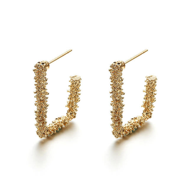 Ikasiya Gold Textured Earrings