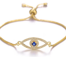 Load image into Gallery viewer, Ikasiya Gold Evil Eye Bracelet with Midnight Blue Stone