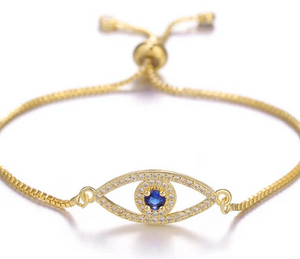 Ikasiya Gold Evil Eye Bracelet with Midnight Blue Stone