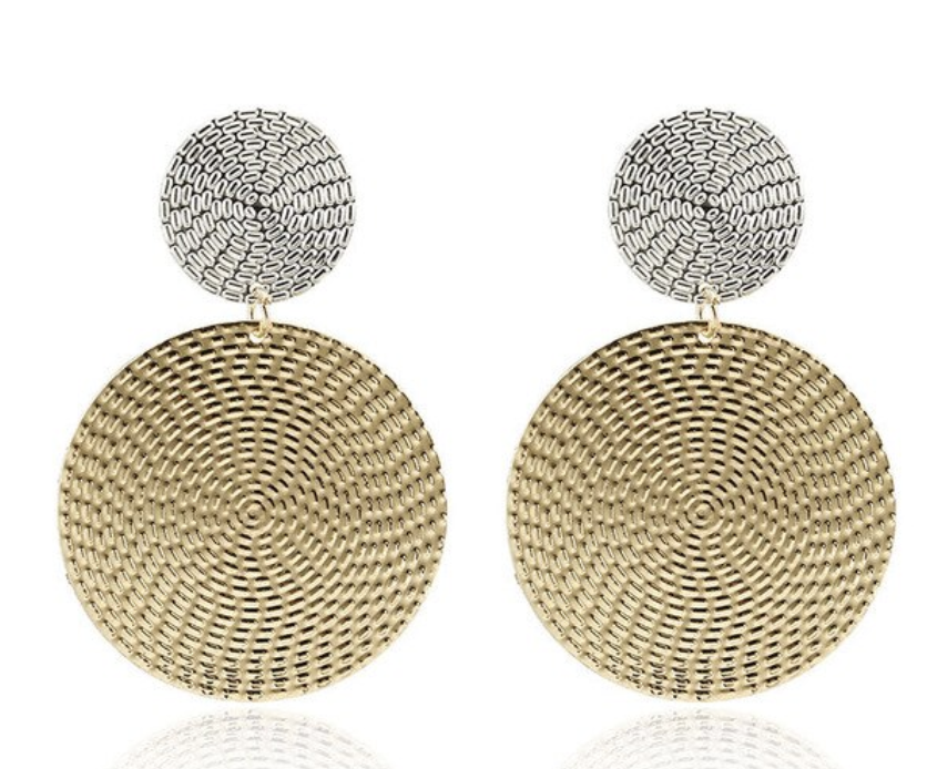 Ikasiya Round Gold and Silver Earrings
