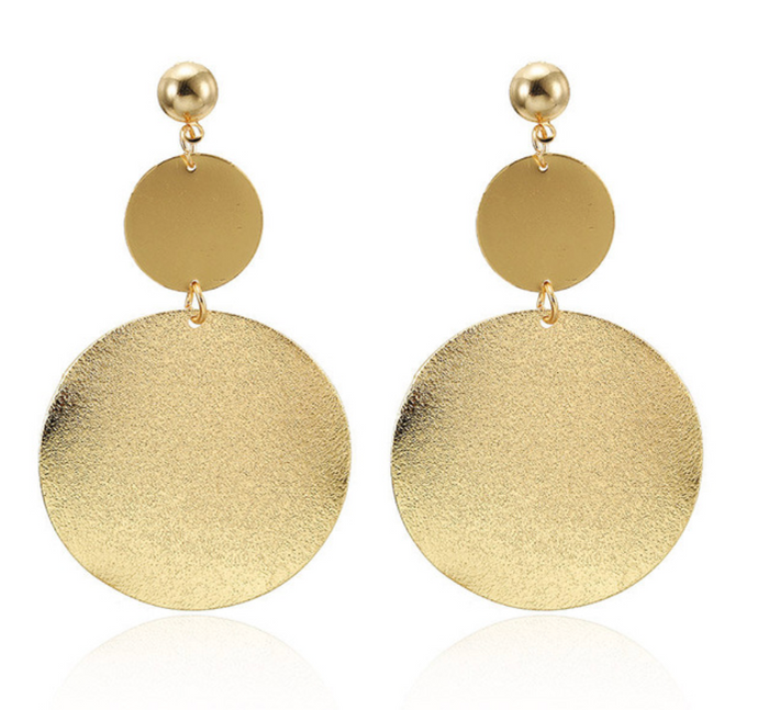 Ikasiya Double Gold Shiny Round Earrings