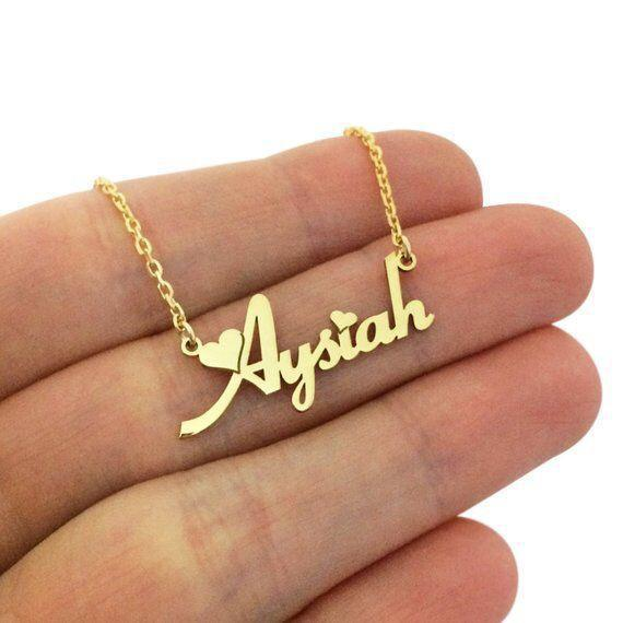 Personalized Gold Name Necklace with Heart