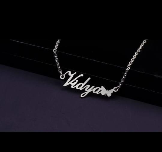 Personalized Silver Plated Name Necklace with Butterfly