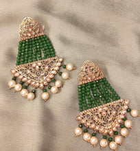 Load image into Gallery viewer, Ikasiya Kundan Gold & Green Long Earrings