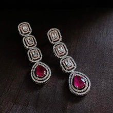 Load image into Gallery viewer, White Diamonds With Ruby Long Earrings