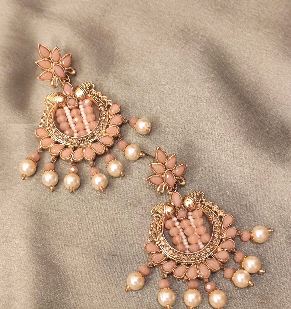 Ikasiya Kundan Peach & Gold Earrings